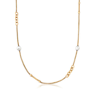 "ALOR ""Chain Reaction"" Cultured Pearl Yellow-Hued Stainless Steel Necklace"