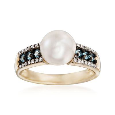 8.5-9mm Cultured Pearl Ring with Diamonds and Blue Topaz in 14kt Yellow Gold, , default