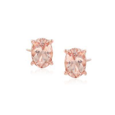 1.40 ct. t.w. Morganite Stud Earrings in 14kt Rose Gold Over Sterling, , default
