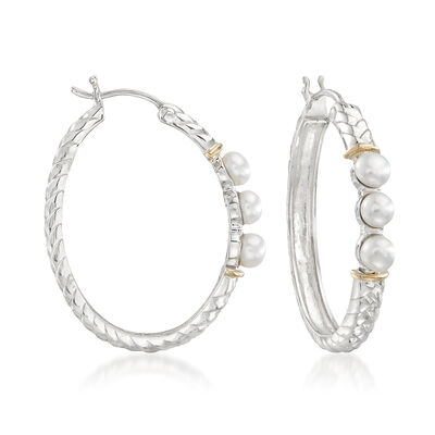 4-4.5mm Cultured Button Pearl and Sterling Silver Hoop Earrings with 14kt Gold, , default