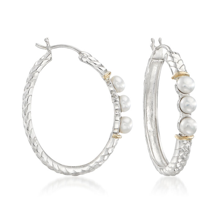 """4-4.5mm Cultured Button Pearl and Sterling Silver Hoop Earrings with 14kt Gold. 1 1/4"""", , default"""