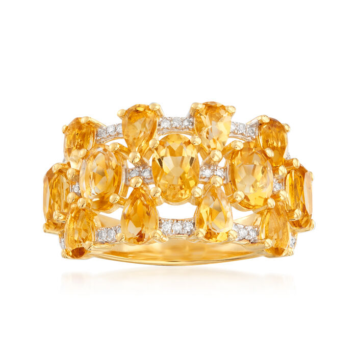 3.20 ct. t.w. Citrine and .10 ct. t.w. Diamond Ring in 18kt Gold Over Sterling. Size 6