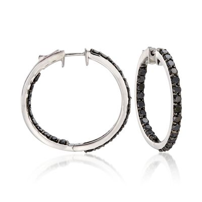 5.00 ct. t.w. Black Diamond Inside-Outside Hoop Earrings in Sterling Silver