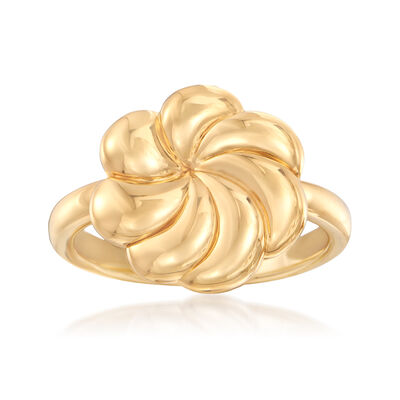 14kt Yellow Gold Wavy Flower Ring, , default