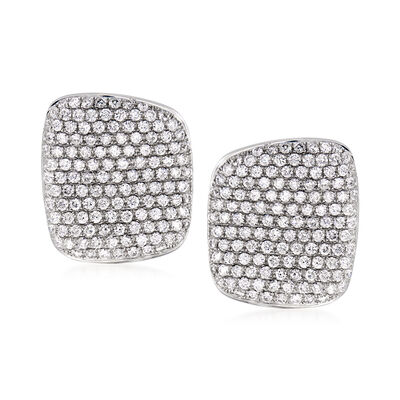 3.60 ct. t.w. Pave Diamond Square Earrings in 14kt White Gold, , default