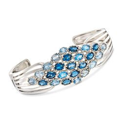 "12.45 ct. t.w. London, Swiss and Sky Blue Topaz Cuff Bracelet in Sterling Silver. 7.5"", , default"