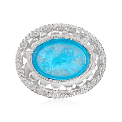 Italian Aurora Chariot Blue Venetian Glass Ring in Sterling Silver