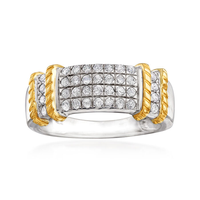 .50 ct. t.w. Pave Diamond Ring in Sterling Silver with 14kt Yellow Gold
