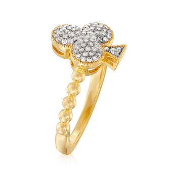 .20 ct. t.w. Diamond Club Symbol Ring in Sterling and 18kt Gold Over Sterling