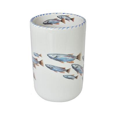 Abbiamo Tutto Italian School of Fish Ceramic Wine Bottle/Kitchen Utensil Holder, , default
