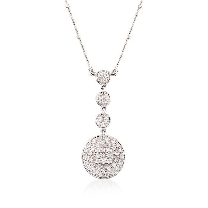 "ALOR .42 ct. t.w. Diamond Multi-Tier Pendant Necklace in 18kt White Gold. 17"", , default"