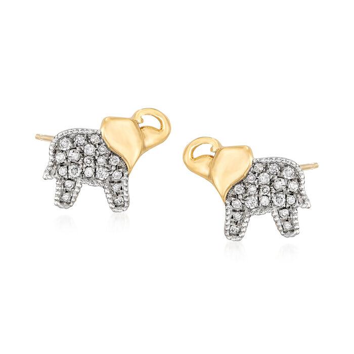 .19 ct. t.w. Diamond Elephant Stud Earrings in 18kt Gold Over Sterling