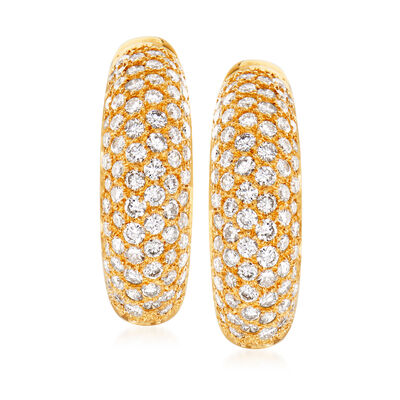 C. 1980 Vintage 2.00 ct. t.w. Pave Diamond Earrings in 18kt Yellow Gold, , default
