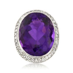 C. 1920 Vintage 23.45 Carat Amethyst and 1.55 ct. t.w. Diamond Ring in Platinum. Size 5.5, , default