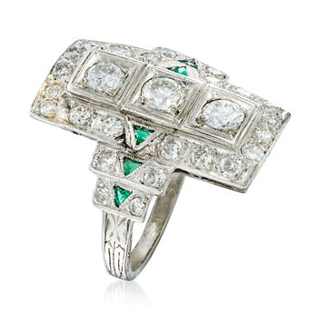 C. 1950 Vintage 1.20 ct. t.w. Diamond and Synthetic Emerald Ring in Platinum. Size 5.5, , default
