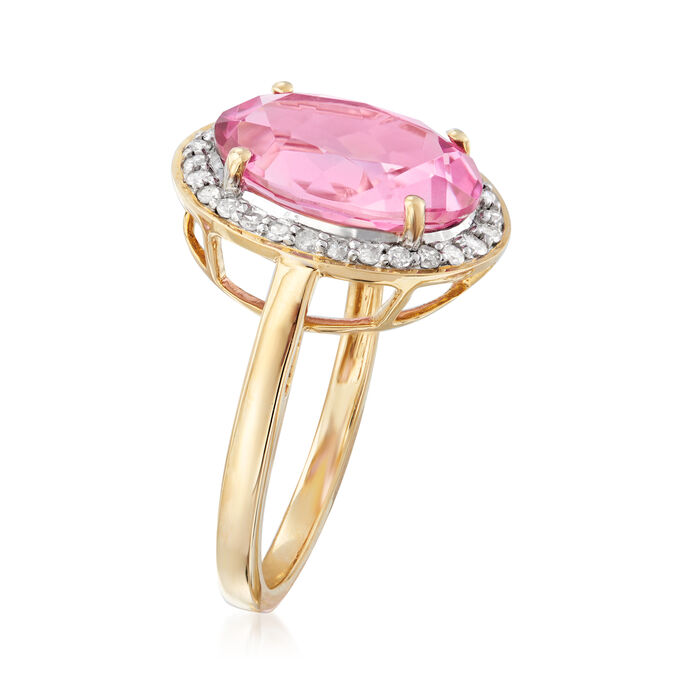 5.25 Carat Pink Topaz and .21 ct. t.w. Diamond Ring in 14kt Yellow Gold