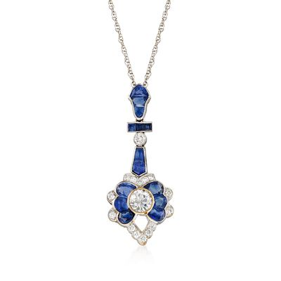 C. 2000 Vintage 2.15 ct. t.w. Sapphire and 1.00 ct. t.w. Diamond Pendant Necklace in 14kt and 18kt White Gold