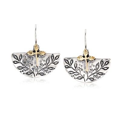 Sterling Silver and 14kt Yellow Gold Leaf Vine Earrings, , default
