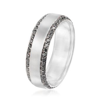 Henri Daussi Men's .95 ct. t.w. Black Diamond Wedding Ring in 14kt White Gold. Size 10, , default