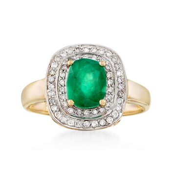 1.30 Carat Emerald and .31 ct. t.w. Diamond Ring in 14kt Yellow Gold, , default