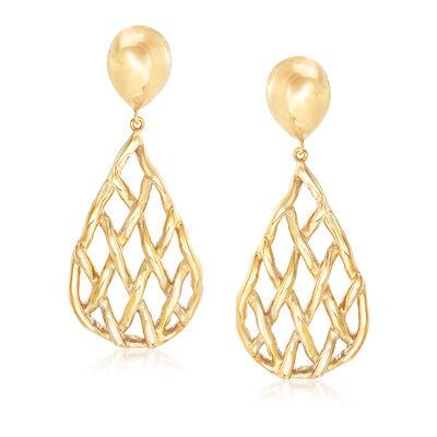 Italian 18kt Yellow Gold Openwork Teardrop Earrings, , default