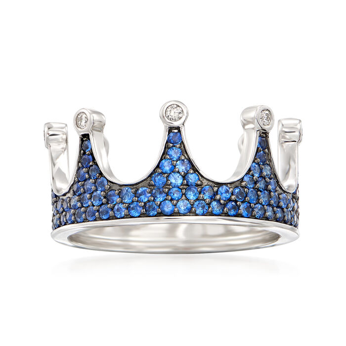 .94 ct. t.w. Sapphire Crown Ring with Diamond Accents in 14kt White Gold