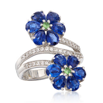 5.75 ct. t.w. Kyanite, .10 ct. t.w. Tsavorite and .50 ct. t.w. White Zircon Flower Ring in Sterling Silver, , default