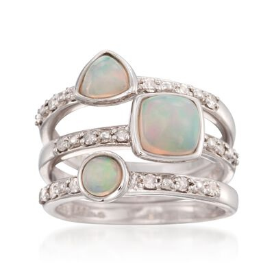 Opal and 22 ct. t.w. Diamond Jewelry Set: Three Stackable Rings in Sterling Silver
