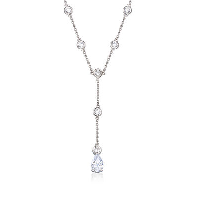 2.70 ct. t.w. CZ Station Lariat Drop Necklace in Sterling Silver