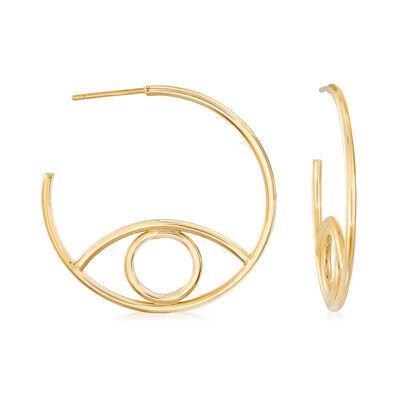 Italian 14kt Yellow Gold C-Hoop Earrings, , default