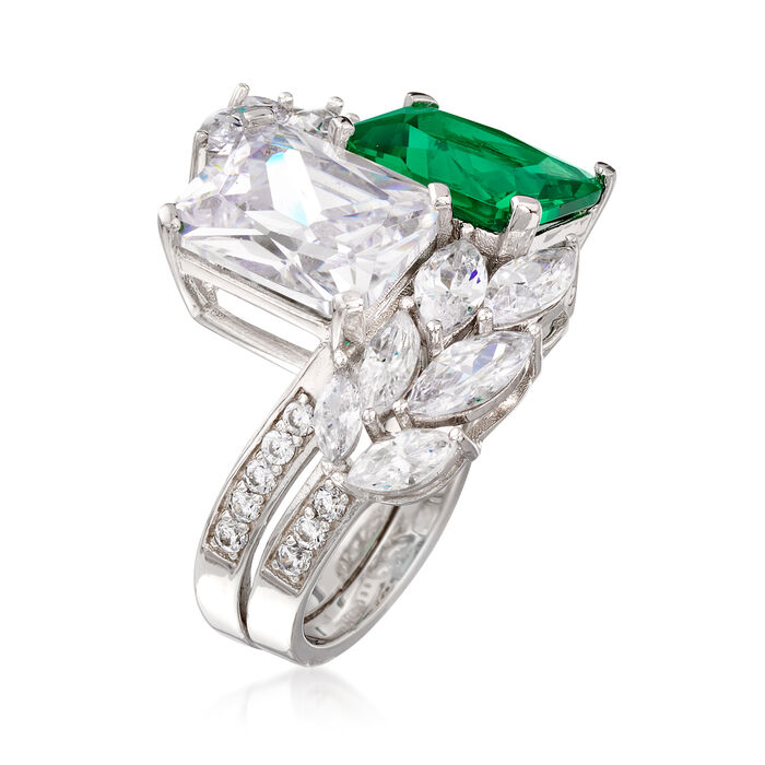 Simulated Emerald and 6.85 ct. t.w. CZ Ring in Sterling Silver