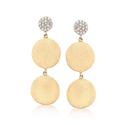 14kt Yellow Gold Triple Circle Drop Earrings with .10 ct. t.w. Diamonds, , default