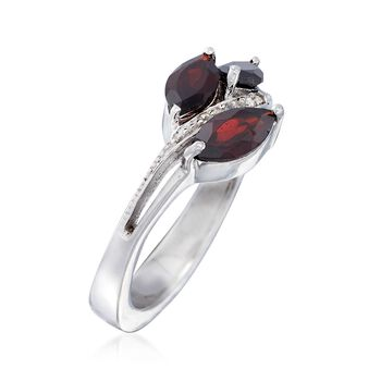 1.80 ct. t.w. Garnet Floral Ring with White Topaz Accents in Sterling Silver