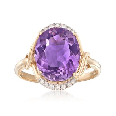 4.40 ct. Amethyst and .10 ct. t.w. Diamond Ring in 14kt Yellow Gold, , default