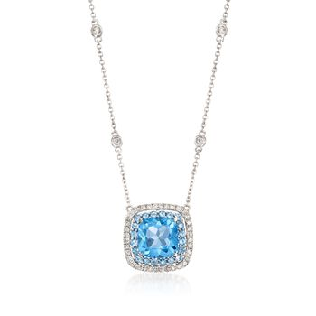 """Gregg Ruth 3.20 ct. t.w. Blue Topaz and .27 ct. t.w. Diamond Necklace in 18kt White Gold. 18"""", , default"""