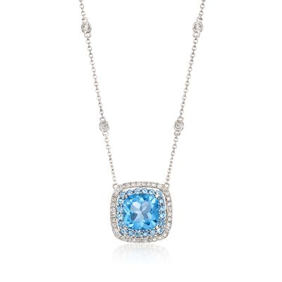 Gregg Ruth 3.20 ct. t.w. Blue Topaz and .27 ct. t.w. Diamond Necklace in 18kt White Gold    , , default