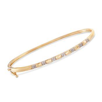 """.15 ct. t.w. Diamond Station Bangle Bracelet in 14kt Gold Over Sterling. 7"""", , default"""