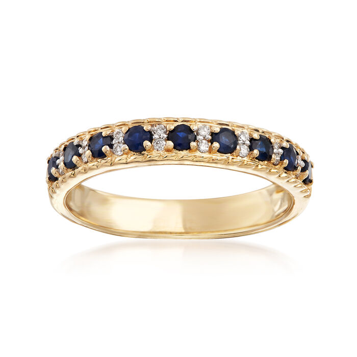 .30 ct. t.w. Sapphire Ring with Diamond Accents in 14rkt Yellow Gold, , default