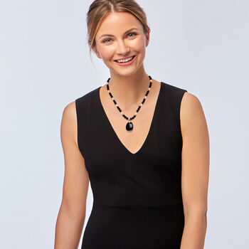 """Cultured Pearl and Black Onyx Beaded Necklace with Sterling Silver. 18"""", , default"""