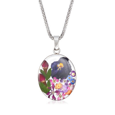 Dried Flower Oval Pendant Necklace in Sterling Silver, , default