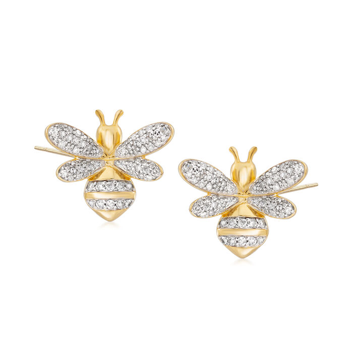 .50 ct. t.w. Diamond Bee Earrings in 18kt Gold Over Sterling, , default