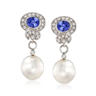 C. 1990 Vintage 11-11.5mm Cultured Pearl, 1.70 ct. t.w. Sapphire and .75 ct. t.w. Diamond Removable Drop Earrings in 18kt White Gold