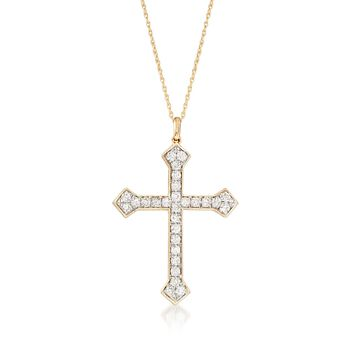 """1.00 ct. t.w. Diamond Cross Pendant Necklace in 14kt Yellow Gold. 18"""", , default"""