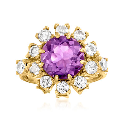 C. 1960 Vintage 2.50 Carat Amethyst and 1.05 ct. t.w. Diamond Ring in 18kt Yellow Gold