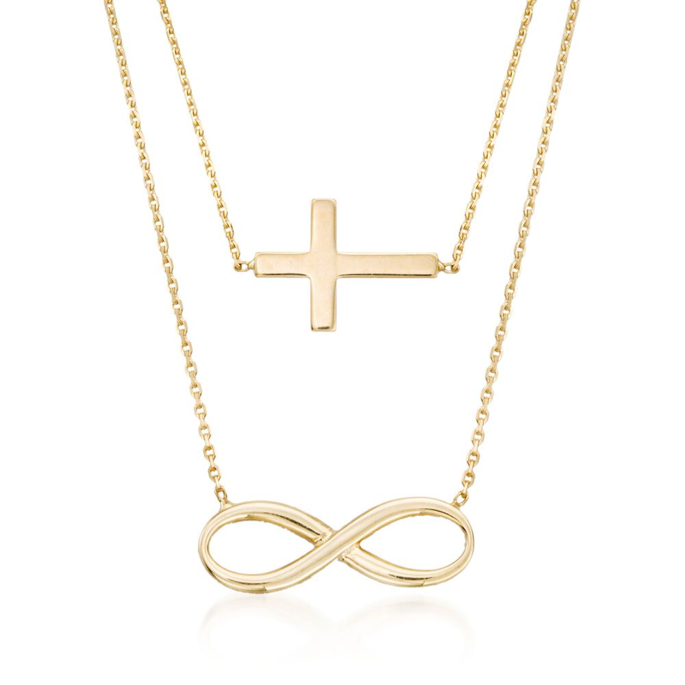 14kt Yellow Gold Double Layer Infinity And Cross Symbol Necklace 16