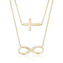 "14kt Yellow Gold Double Layer Infinity and Cross Symbol Necklace. 16"", , default"
