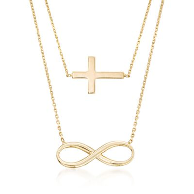 14kt Yellow Gold Double Layer Infinity and Cross Symbol Necklace, , default
