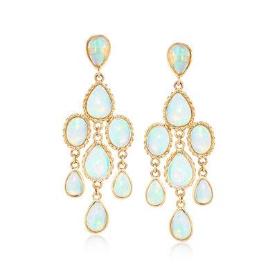 Ethiopian Opal Chandelier Earrings in 14kt Yellow Gold
