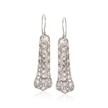 C. 1990 Vintage 7.00 ct. t.w. Diamond Drop Earrings in Platinum, , default