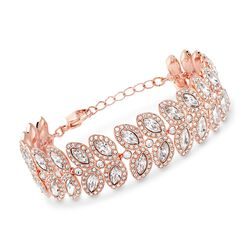 "Swarovski Crystal ""Baron"" Crystal Leaf Bracelet in Rose Gold Plate. 6"", , default"